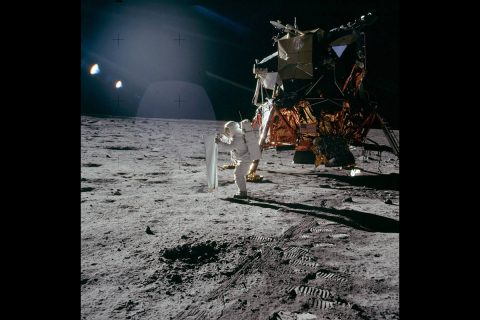 Aldrin setting up the Solar Wind Collection experiment. (NASA)