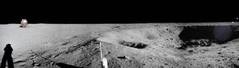 Panoramic mosaic of several images taken by Armstrong at Little West Crater. (NASA)