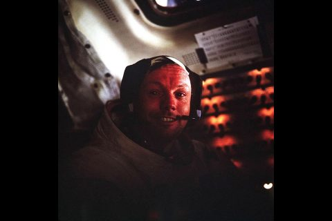 Armstrong back inside Eagle after the first spacewalk on the Moon. (NASA)