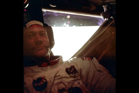 Aldrin back inside Eagle after the first spacewalk on the Moon. (NASA)
