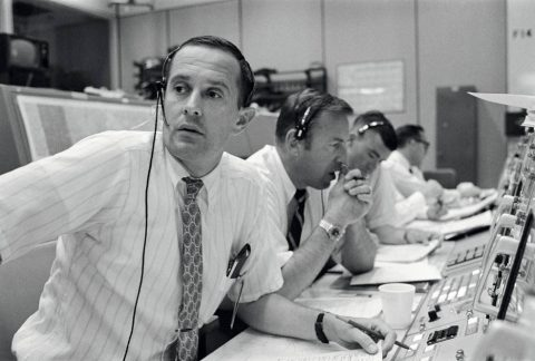 In Mission Control during the descent to the Moon (left to right) Capcom Duke, and Apollo 11 crewmembers James A. Lovell and Fred W. Haise. (NASA)