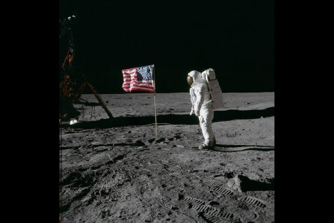 Photograph of Aldrin and the US flag taken by Armstrong. (NASA)