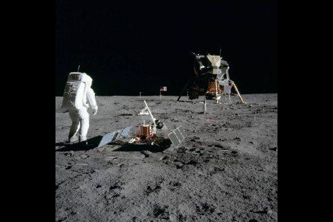 Aldrin standing next to the seismometer. (NASA)
