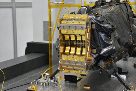 The cryogenic (cold) portion of the Euclid space telescope's Near Infrared Spectrometer and Photometer (NISP) instrument. NASA led the procurement and delivery of the detectors for the NISP instrument. The gold-coated hardware is the 16 sensor-chip electronics integrated with the infrared sensors. (Euclid Consortium/CPPM/LAM)
