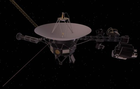 This artist's concept depicts one of NASA's Voyager spacecraft, including the location of the cosmic ray subsystem (CRS) instrument. Both Voyagers launched with operating CRS instruments. (NASA/JPL-Caltech)