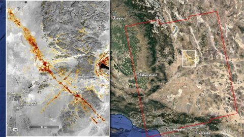 NASA's ARIA team produced this map of earthquake damage in Southern California from the recent temblors in July2019. The color variation from yellow to red indicates increasingly more significant surface change, or damage. (NASA/JPL-Caltech, ESA)