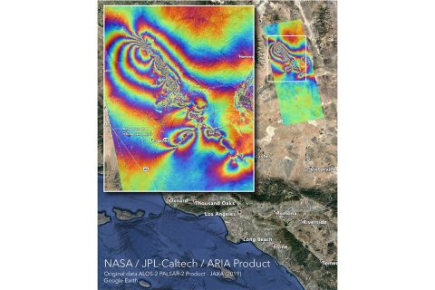 NASA's Advanced Rapid Imaging and Analysis (ARIA) team created this co-seismic Interferometric Synthetic Aperture Radar (InSAR) map, which shows surface displacement caused by the recent major earthquakes in Southern California, including the magnitude 6.4 and the magnitude 7.1 events on July 4 and July 5, 2019, respectively. (NASA/JPL-Caltech)