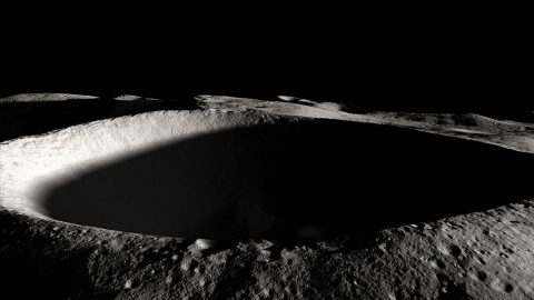 A permanently shadowed lunar crater. (NASA's Goddard Space Flight Center)