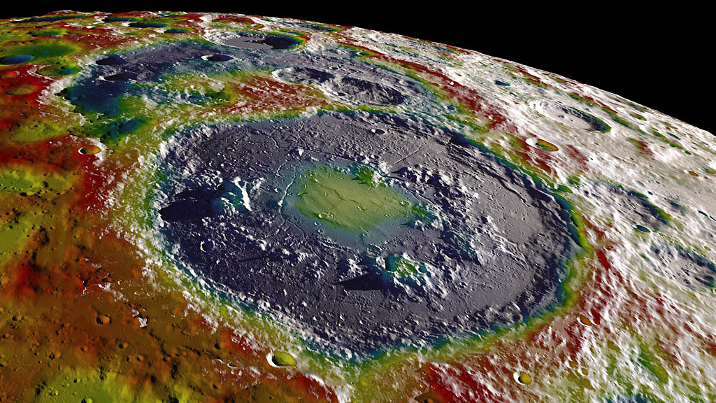 A high-resolution free-air gravity map based on data returned from NASA's Gravity Recovery and Interior Laboratory mission, overlaid on terrain based on NASA's Lunar Reconnaissance Orbiter altimeter and camera data. The view is south-up, with the south pole near the horizon in the upper left. (NASA's Scientific Visualization Studio)