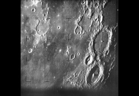 Portion of first Moon photo by a U.S. spacecraft, Ranger 7, on July 31, 1964, about 17 minutes before it successfully collided with the lunar surface. The Ranger missions helped with Apollo landing-site selection. (NASA/JPL)