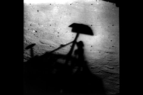 Surveyor 1's shadow against the Moon's surface in late lunar afternoon; horizon at upper right. The spacecraft made a successful soft landing on the Moon on June 2, 1966. (NASA/JPL)