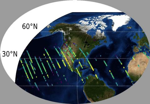 Preliminary carbon dioxide (CO2) measurements from OCO-3 over the United States. (NASA/JPL-Caltech)