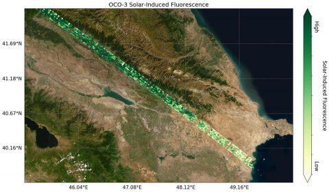 NASA's Orbiting Carbon Observatory-3 Gets First Data Preliminary solar-induced fluorescence (SIF) measurements from OCO-3 over western Asia. (NASA/JPL-Caltech)