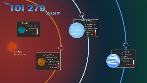 This infographic illustrates key features of the TOI 270 system, located about 73 light-years away in the southern constellation Pictor. The three known planets were discovered by NASA's Transiting Exoplanet Survey Satellite through periodic dips in starlight caused by each orbiting world. Insets show information about the planets, including their relative sizes, and how they compare to Earth. (NASA's Goddard Space Flight Center/Scott Wiessinger)