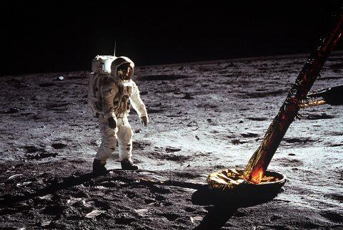 Astronaut Buzz Aldrin walks on the surface of the Moon near a leg of the lunar module during Apollo 11. (NASA)