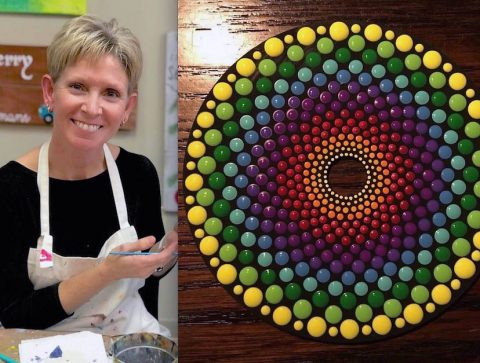 On July 13th, Susie Yonkers will teach painting old cd's in the mandala style.