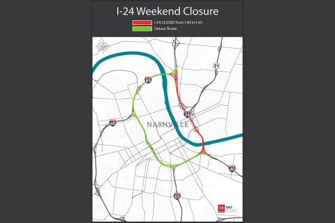 TDOT I-24 Weekend Closure Map