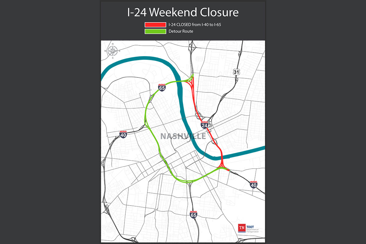 TDOT announces I-24 Weekend Closure Scheduled for Downtown Nashville