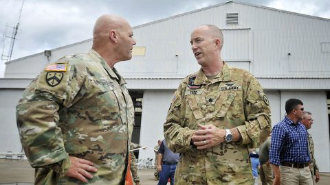 Tennessee's Deputy Adjutant General, Maj. Gen. Tommy Baker (L) talks with 1-230th Assault Helicopter Battalion Commander, Lt. Col. Steve Todd (R) upon his unit's return from an 11-month deployment to Kosovo, July 17, 2019 at Volunteer Training Site in Smyrna. (Army Sgt. Robert Mercado)