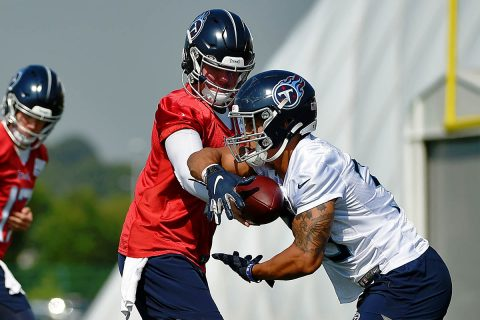 Tennessee Titans quarterback Marcus Mariota (8) ands the ball to Tennessee Titans running back Dion Lewis (33) at St. Thomas Sports Park. (Steve Roberts-USA TODAY Sports)