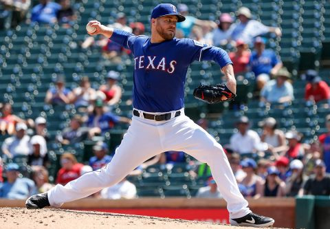 Texas Rangers relief pitcher Shawn Kelley (27) throws against the Cleveland Indians during the ninth inning at Globe Life Park in Arlington. (Ray Carlin-USA TODAY Sports)