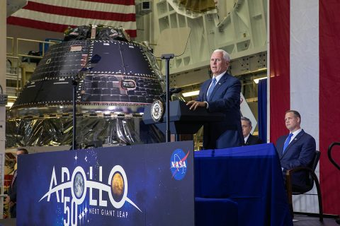Vice President Mike Pence addresses invited guests, elected officials and NASA, Lockheed Martin and other industry leaders at Kennedy Space Center's Neil Armstrong Operations Checkout Building on July 20, 2019. Pence, who visited the Florida spaceport in honor of the 50th anniversary of the Apollo 11 mission, also spoke about NASA's progress and future plans to return to the Moon and on to Mars. (NASA)