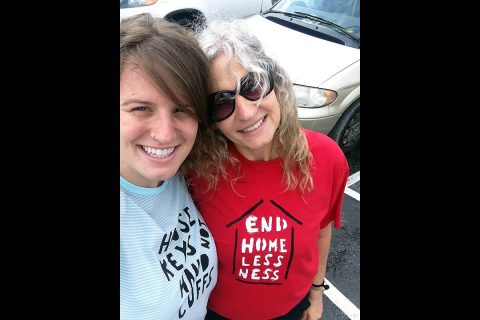 "Tshirts ""House Keys Not Handcuffs"" and ""End Homelessness"""