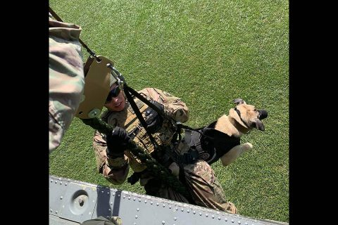 Private 1st Class Jacob Pickering and Military Working Dog Barbi from the 510th Military Police Detachment (MWD) descend from a helicopter during air assault training. Within the month, this team will begin a nine month deployment in Iraq in support of combat operations, providing explosive detection capabilities. (1st Lt. M. Austin Giles, 510th Military Police Detachment (MWD), 716th Military Police Battalion)