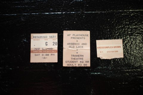 A carpet installer on Aug. 16 found a 31-year-old playbill and tickets while renovating the seating in an Austin Peay State University TV studio. (APSU)