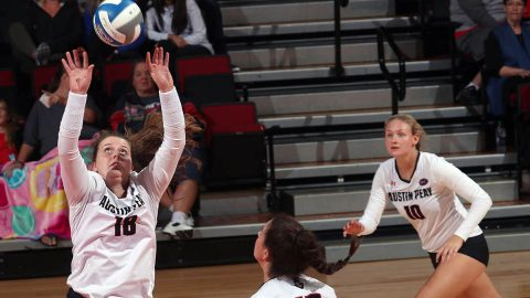 Austin Peay Women's Volleyball loses first match of the season to North Carolina Central, Friday. (APSU Sports Information)