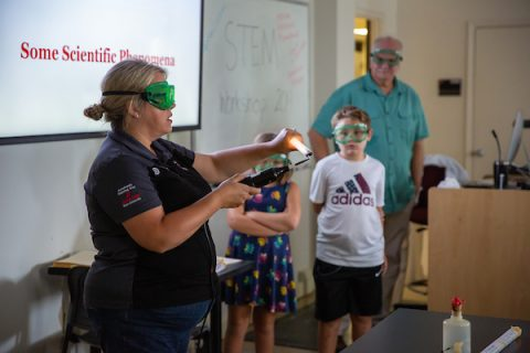 Austin Peay Dr. Lisa Sullivan presents low-budget demonstrations to 30 rural science teachers. (APSU)