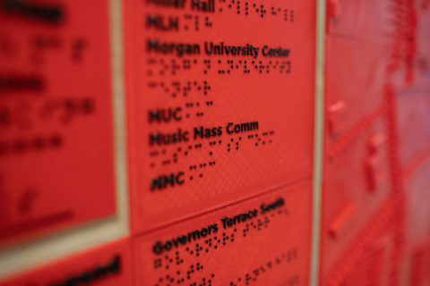 Austin Peay State University student Michael Hunter taught himself Braille to build the map and its legend. (APSU)
