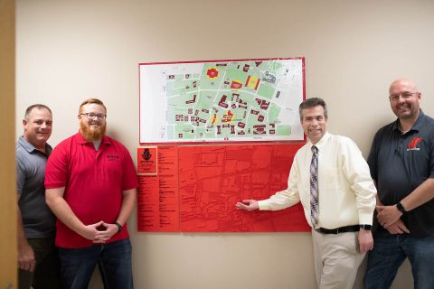From the left are Austin Peay GIS Center Project Manager Doug Catellier, Michael Hunter, Director of Disability Services Jamie McCrary and GIS Center Director Mike Wilson. (APSU)