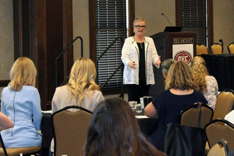 Austin Peay president Dr. Alisa White speaks at the Nashville Sports Council's Women in Sports Initiative. (APSU Sports Information)