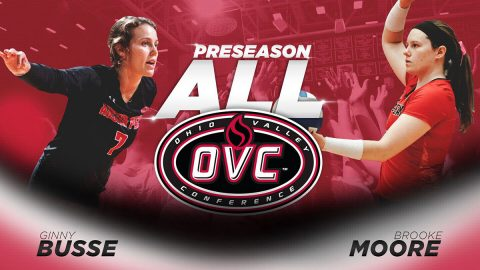 Austin Peay Volleyball's Brooke Moore, Ginny Busse named to the Ohio Valley Conference's Preseason Volleyball Team. (APSU Sports Information)