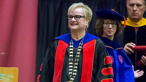 Austin Peay president Alisa White at the 2019 Summer Commencement. (APSU Sports Information)