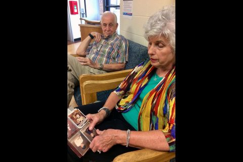 Dr. Harriet McQueen shows off childhood photos of her sons, Andy and Jeff, now 46 and 43, respectively. (APSU)