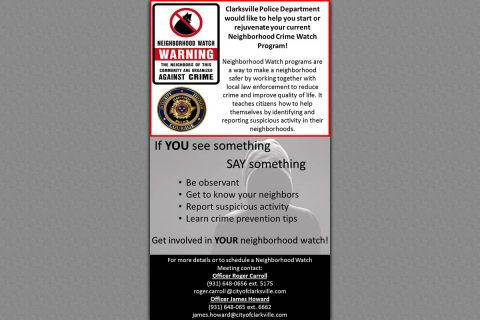 Clarksville Police Department Neighbor Crime Watch Program