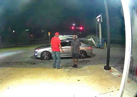Clarksville Police are asking for public help identifying the robbery suspect in this photo wearing a plaid blue shirt and cargo shorts.