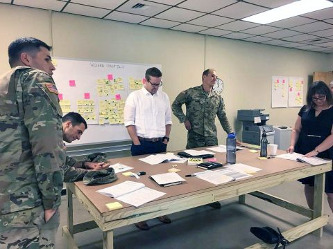 Vanderbilt University faculty and representatives from the 101st Airborne Division (Air Assault) participate in a design workshop in the EAGLEWERX Innovation Lab at Fort Campbell targeted toward improving air assault operations. The two groups plan to hold similar events at multiple echelons, including quarterly innovation symposiums at the division level. (Capt. Daniel Vazquez, 3rd Brigade Combat Team)