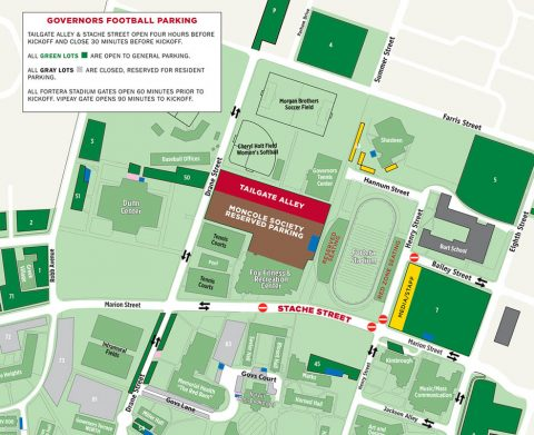 Governors Football Game Day Traffic and Parking Map