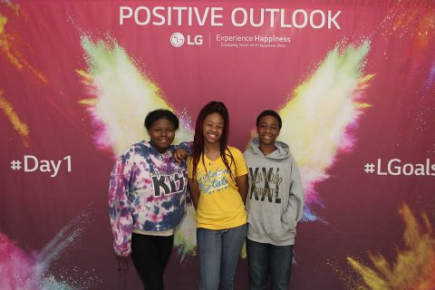 Kenwood Middle School Students engaged with the Positive Outlook activation station. (Tony Centonze)