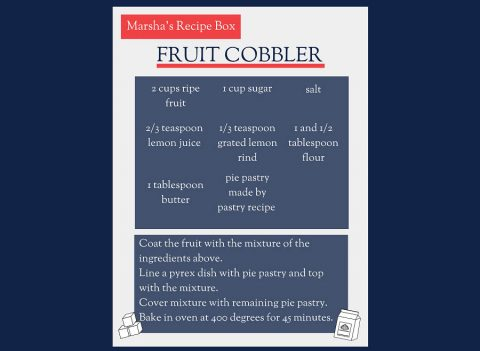 Marsha Blackburn's Fruit Cobbler recipe