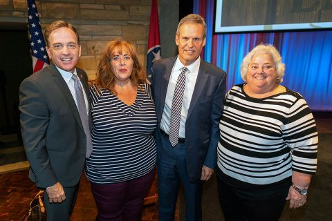 Tourist Development Commissioner Mark Ezell, Visit Clarksville Sales Director Frances Manzitto, Governor Bill Lee and Visit Clarksville Executive Director Theresa Harrington at the Governor's announcement of the 2018 economic impact of travel on Tennessee. (Ed Rode)