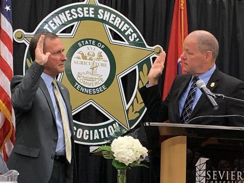 Montgomery County Sheriff John Fuson being sworn in as Tennessee Sheriff's Association President.