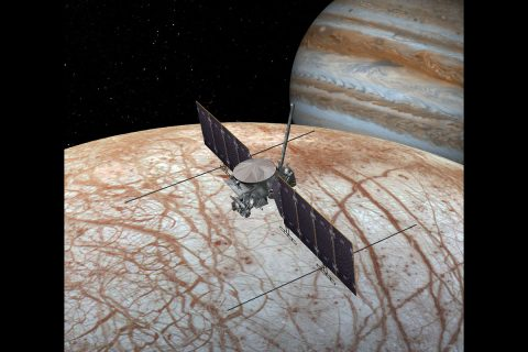 A 2016 artist's concept of the Europa Clipper spacecraft. The design is changing as the spacecraft is developed. (NASA/JPL-Caltech)
