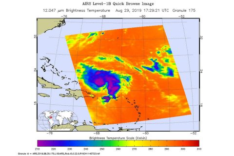 An infrared image of Hurricane Dorian, as seen by the AIRS instrument aboard NASA's Aqua satellite at 1:30 p.m. EDT (10:30 a.m. PDT) on Aug. 29, 2019. The large purple areas are cold clouds, carried high into the atmosphere by deep thunderstorms. Blue and green show warmer areas with less rain clouds, while orange and red represent mostly cloud-free air. (NASA/JPL-Caltech)