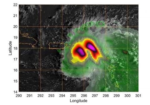 Hurricane Dorian off the coast of Puerto Rico, as seen by the small satellite TEMPEST-D on Aug 28, 2019 (local time). The colors in the image reveal the heavy rain and moisture inside the storm. The least intense areas of rainfall are shown in green and most intense are yellow and pink. (NASA/JPL-Caltech)