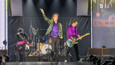 """The Rolling Stones took the stage at the Rose Bowl on Aug. 22, 2019. NASA's Mars InSight lander team named a Martian rock """"Rolling Stones Rock."""" (NASA/JPL-Caltech)"""