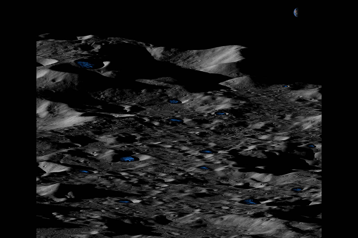 Conceptual illustration of permanently shadowed, shallow icy craters near the lunar south pole. (UCLA/NASA)